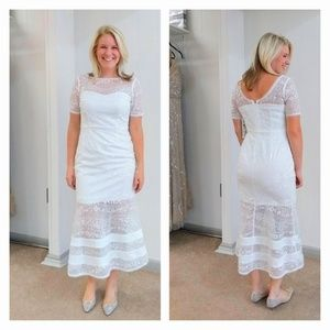 Aidan Mattox White Sequin and Lace Cocktail Dress